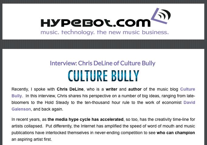 Hypebot Interview