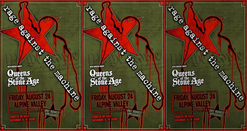 Rage Against Machine Alpine Valley Wisconsin Queens Stone Age